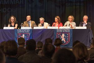 All five candidates for the Arundel and South Downs seat attended a hustings event organised by Greening Steyning, where climate change was top of the agenda. Picture: Frank Bull.
