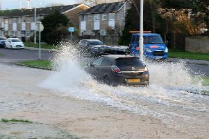 The scene of the flooding in Columbia Drive, Worthing