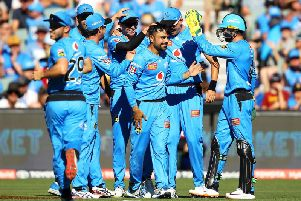 Rashid Khan is congratulated on a wicket against the Renegades in the Big Bash / Picture: Getty