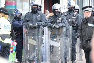Police with riot gear in Broadwater Street West
