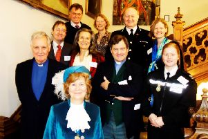 High Sheriff of West Sussex Mrs Davina Irwin-Clark with guest speaker Jonathan Aitken, Harry and Pip Goring, Dr Timothy Fooks, Mrs Sarah Fooks, Chief Constable Giles York, Mrs Sally York, High Sheriff's chaplain the Rev Peter Irwin-Clark and the High Sheriff's police cadet Natasha Clear