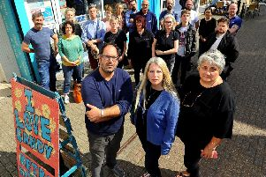 Worthing traders anger at outdoor seating licence. Front row, trader and TCI members Andy Sparsis, Samantha Whittington, and Diane Guest TCI chair. Pic Steve Robards SR1920838 SUS-190820-093031001
