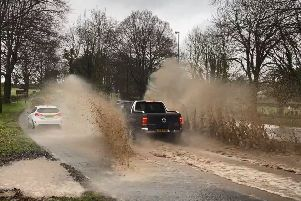 Flooding on the A24 in Findon