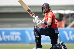Heather Knight of England bats during the Women's T20 Tri-Series Game 2 between Australia and England at Manuka Oval on February 01, 2020 in Canberra, Australia. Picture courtesy of Getty Images
