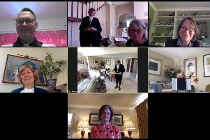 The declaration ceremony, held via video conference, top, from left, the Rev Steve Burston, Kevin Smyth, Shirley Crowther and Julia Mansergh; middle, Davina Irwin-Clark and Dr Tim Fooks; bottom, Victoria Atkins