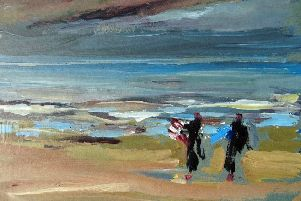 One of the paintings, by artist Beverley Nel.