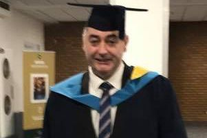 Former Mayor of Skegness Councillor Danny Brookes receives a Honours Degree in Business. ANL-181123-104800001