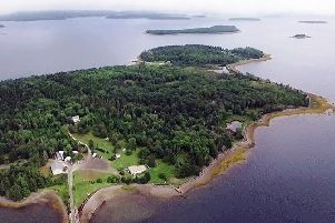 An aerial photo of the mysterious Oak Island, off the coast of Nova Scotia, Canada.