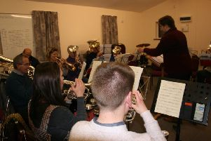 Alford Silver Band in rehearsals for the Christmas concert. EMN-180412-160800001