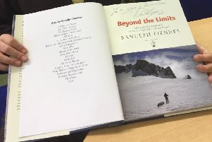 This book wtitten by explorer Ranulph Fiennes was signed by him for the Richmond School, Skegness. ANL-181212-132420001