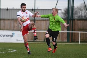 Skegness Town football action. Richard Ford.