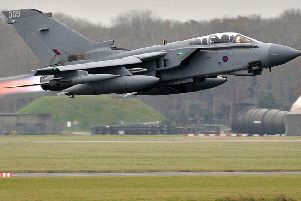 Tornado GR4 aircraft taking off from RAF Marham.
