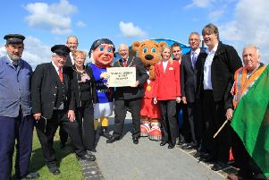 The LCLR on launch day, 10 years ago. Pictured, from left, driver Jim Smith, volunteer Chris Bates, director of Butlins Chris Baron, Mayoress Rita Pimperton, Jolly Fisherman, Mayor Coun Neil Pimperton, Billy Bear, Butlins' redcoats Laura Pyatt and Deano Jones, Skegness town clerk Tony Cumberworth, John Chappell of Ellis Bros, and LCLR director Astling Evison.