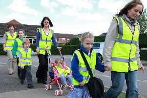 The walking bus at Spilsby Primary School 10 years ago.