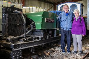 Peter Jarvis, with wife Mary and one of the locomotives from his wartime effort. PICTURE: Dave Enefer/LCLR