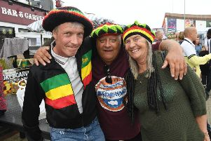Reggae festival at Skegness. L-R Ray MacDonald (Voodoo Ray), Rob Flint and Lynne Sollis of Skegness ANL-190807-124720003