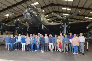 Visitors from Germany with hosts from Spilsby at East Kirkby Aviation Heritage Centre.