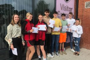 Skegness Academy students celebrate their A-level results.
