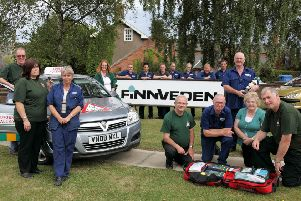 Finnveden Powertrain, of Alford, making its donation to LIVES 10 years ago.