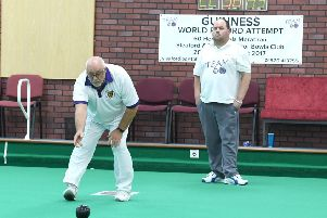 Sleaford Indoor Bowls Club members taking part in a world record attempt. Michael Baker (left) and Paul Roberts. EMN-170310-103156002