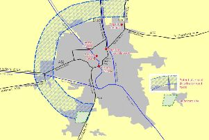 A map of where the Boston Distributor Road could go.