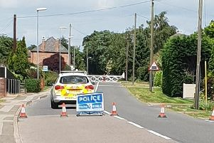 Daniellle Thorpe's photo of the road closure outside Heckington Windmill.
