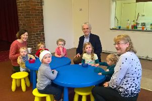 Coun Mike King visiting Billingborough Baby and Toddler Group.