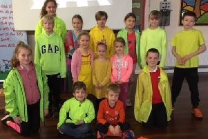Pupils at Chestnut Street Primary Academy who took part in the 'Be Bright' road safety day. Image supplied.