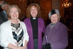 The Rev Christine Goldsmith (centre) pictured at her induction with district and county councillor Marianne Overton,left, and Daphne Page (member of PCC, St Swithin's Church, Leadenham). Images supplied.