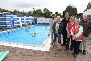 Heckington swimming pool gala open day after major refurbishment. L-R Rodger Doughty, Sheryl White, David O'Brien, Tracy Cooke, Maxine Aldred, Brian Grant. EMN-190605-103951001