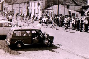 Cyclists set off along Ermine Street through Ancaster on their race back in May 1970. EMN-190305-145804001