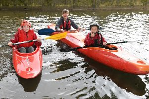 Slea Paddlers Canoe and Kyak Club holding taster sessions on the Slea. L-R Charlie Wetherill 11, Shannon Price and Tyrone Andrew 8 EMN-190520-111815001