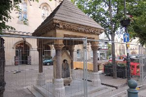 Work is progressing on the Bristol water fountain project in the Market Place. EMN-190716-111225001