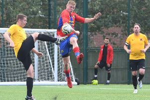Northgate Olympic (red) v Kirton Reserves (yellow). Kenny Smith (red), Martin Durrant (yellow)