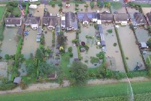 A view of the flooding overhead from Lincolnshire Police's drone.