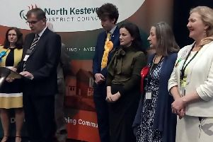 Returning Officer Ian Fytche declares Caroline Johnson's win.