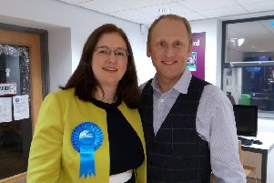Sleaford and North Hykeham MP Dr Caroline Johnson, with husband Nik at her general election win last month. EMN-200121-120108001