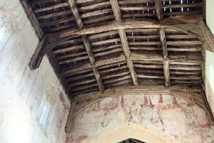 Historic medieval wall paintings were put at risk when lead was stripped from Pickworth Church. ABCDE EMN-200901-124820001