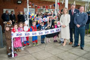 Nursery children at the official opening of RAFA Kidz Cranwell, with Kate Wigston, wife of the Chief of the Air Staff, Nick Bunting, secretary general of the RAF Association and Wing Commander Phil Mann.