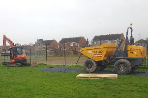 Work commences on the new Multi-Use Games Area at Ruskington playing field. EMN-200213-151430001