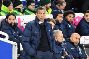 Brighton & Hove Albion manager Chris Hughton on the touchline against Crystal Palace. Picture by PW Sporting Pics