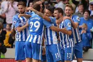 Brighton celebrate a goal against West Brom in September. Picture by Phil Westlake (PW Sporting Photography)
