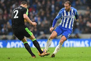 Glenn Murray challenges Simon Francis during the 2-2 draw with Bournemouth. Picture by Phil Westlake (PW Sporting Photography)