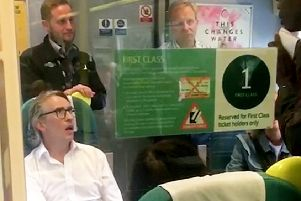 Steve Coogan remonstrating with a guard on a Southern Rail service, photo by SWNS
