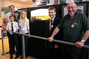 Uckfield College students display.  L-R Thomas, Jack, Kathleen, Mia, Adam and Keith from the UMRC SUS-181023-091932001