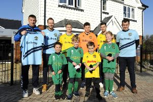 Hailsham Town FC in their new Bellway-branded kit