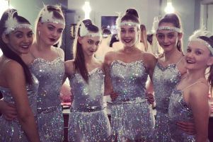 Some of the dancers ready in their sparkles for the show
