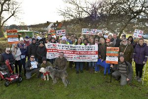 Residents before their march to demonstrate against the proposed developement of 700 homes at Morning Mills Farm in Willingdon (Photo by Jon Rigby)