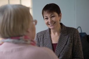 Caroline Lucas on her 'Dear Leavers' visit to Dagenham (Photograph: James McDonald)