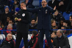 Maurizio Sarri, Manager of Chelsea reacts during the FA Cup Fifth Round match between Chelsea and Manchester United at Stamford Bridge (Photo by Mike Hewitt/Getty Images)